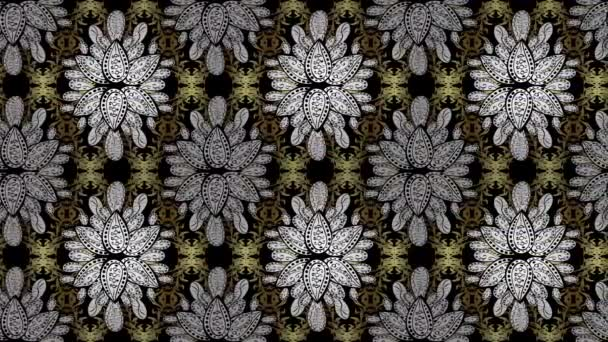 Seamless royal luxury golden baroque damask vintage. Video pattern background wallpaper with gold antique floral medieval decorative flowers, leaves and gold pattern ornaments on colors. Loop.
