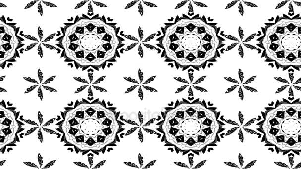 White and black moving floral pattern