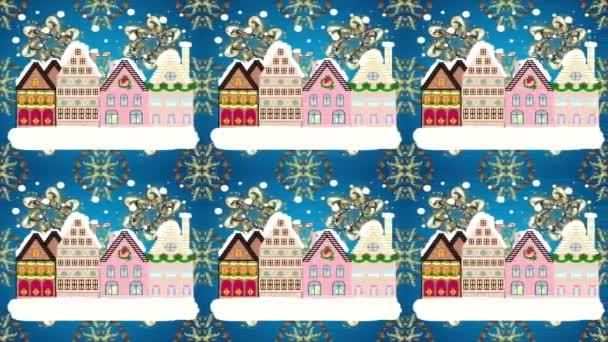 Night video Winter, Christmas urban landscape. Video illustration. Loop