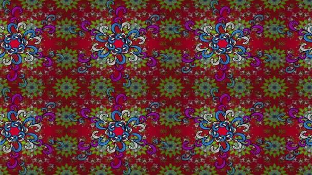 Islámská barevné mandaly kolo ornament na červené, zelené a černé barvy. Video smyčka.