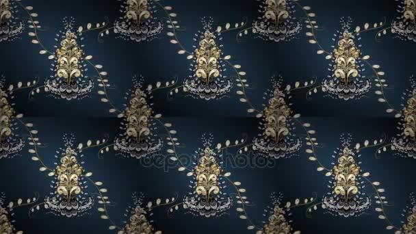 Design vintage. Reticolo dorato sui colori blu, grigi e verdi con gli elementi dorati. Stampa tessile dorato dei video. Ornamento orientale del reticolo. Mattonelle floreali. Loop. Rilassatevi videoscreen.