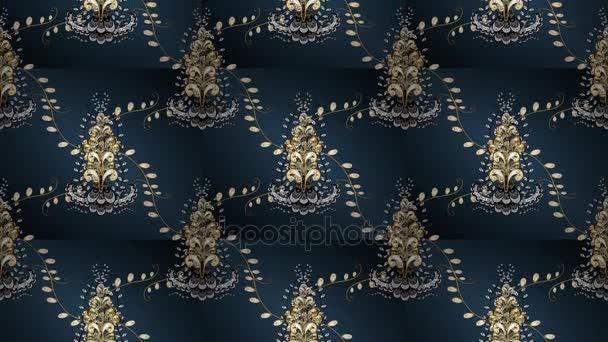 Design vintage. Reticolo dorato sui colori blu, grigi e verdi con gli elementi dorati. Stampa tessile dorato dei video. Ornamento orientale del reticolo. Mattonelle floreali. Loop. Rilassatevi videoscreen