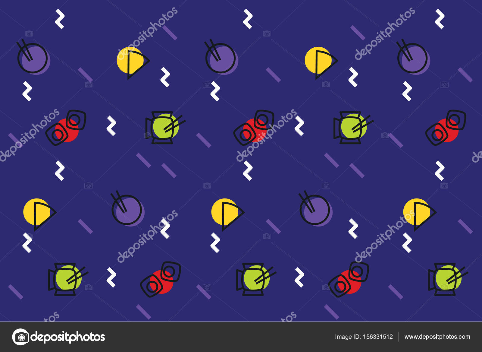 Fastfood icons  Memphis style  — Stock Vector © ps-42 #156331512