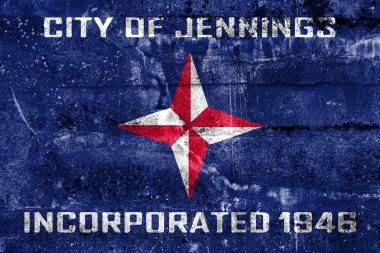 Flag of Jennings, Missouri, USA, painted on dirty wall