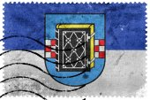 Fotografie Flagge von Bochum mit Wappen, Deutschland, alte Briefmarke