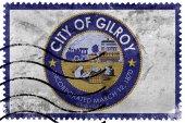Vlajka Gilroy, Kalifornie, Usa, staré poštovní známky