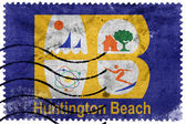 Vlajka Huntington Beach, Kalifornie, Usa, staré poštovní známky