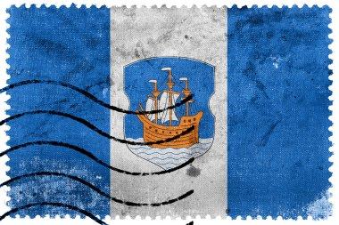 Flag of Polotsk City, Belarus, old postage stamp