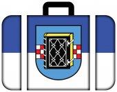 Fotografie Flagge von Bochum mit Wappen, Deutschland. Koffersymbol