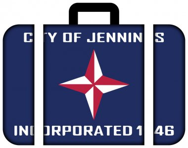 Flag of Jennings, Missouri, USA. Suitcase icon