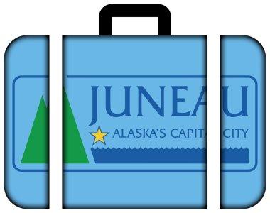 Flag of Juneau, Alaska, USA. Suitcase icon