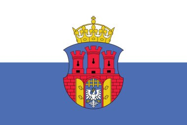Flag of Krakow with Coat of Arms, Poland. Vector Format