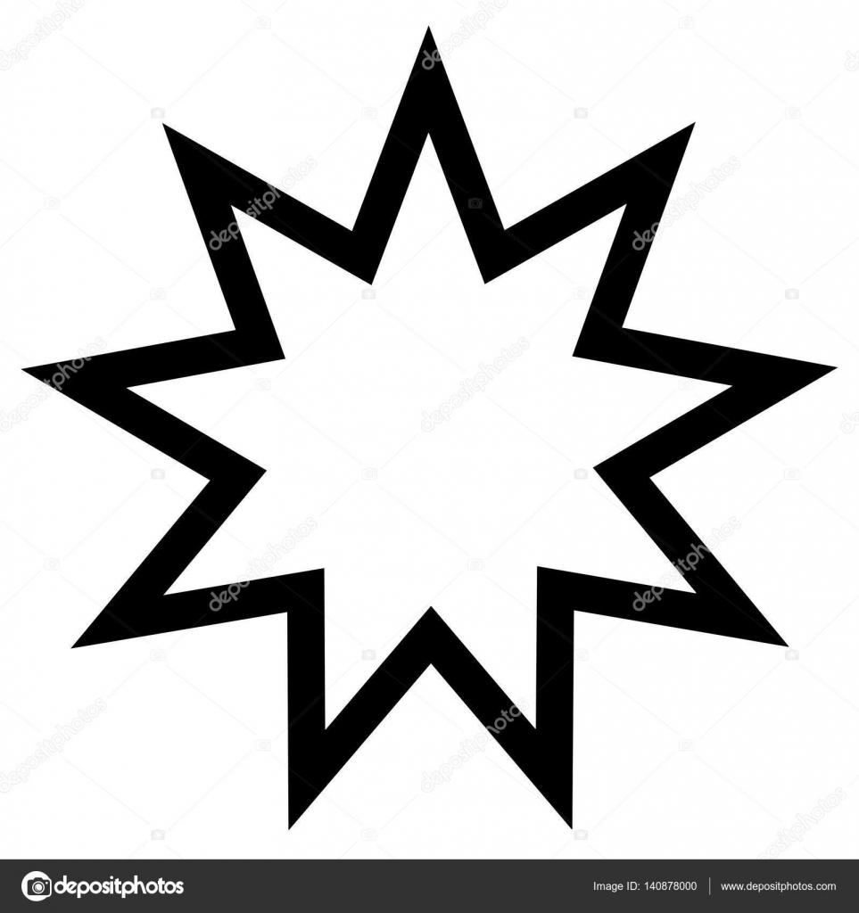 Religiöses Zeichen. Bahai-Glauben. Neun fünfzackigen Stern. Vektor ...