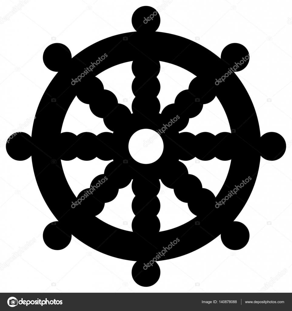 Religiöses Zeichen. Buddhismus. Dharmachakra. Vektor