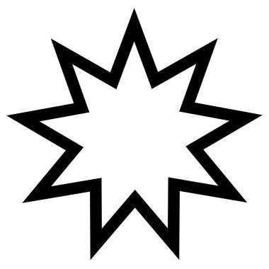 Religious sign. Bahai Faith. Nine pointed star. Vector Format.