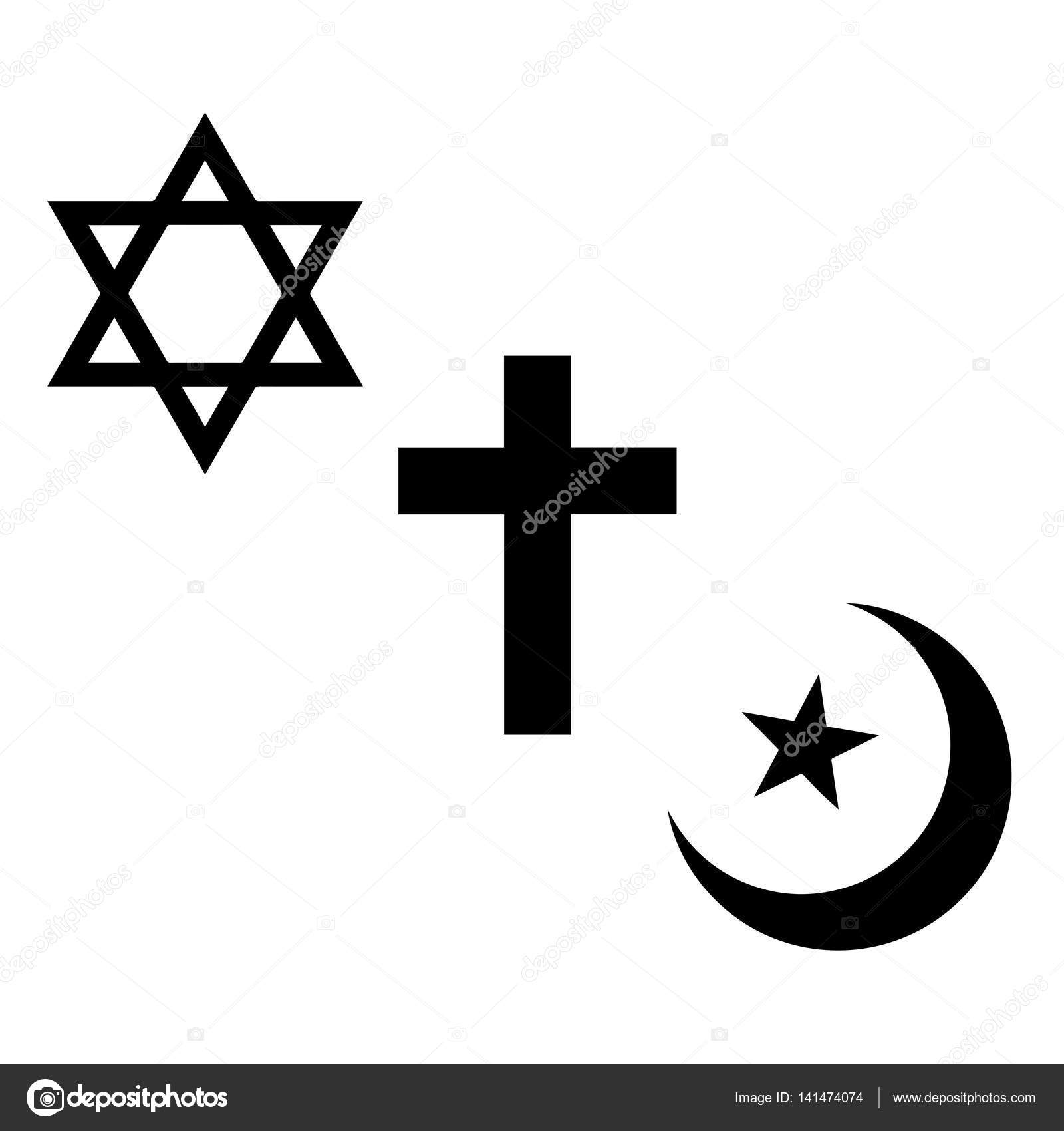 Religious Signs Christian Jewish And Muslim Symbols Stock Vector