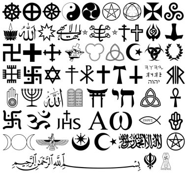 Religious symbols from the top organized faiths of the world according to Major world religions. All important signs in Vector Format.