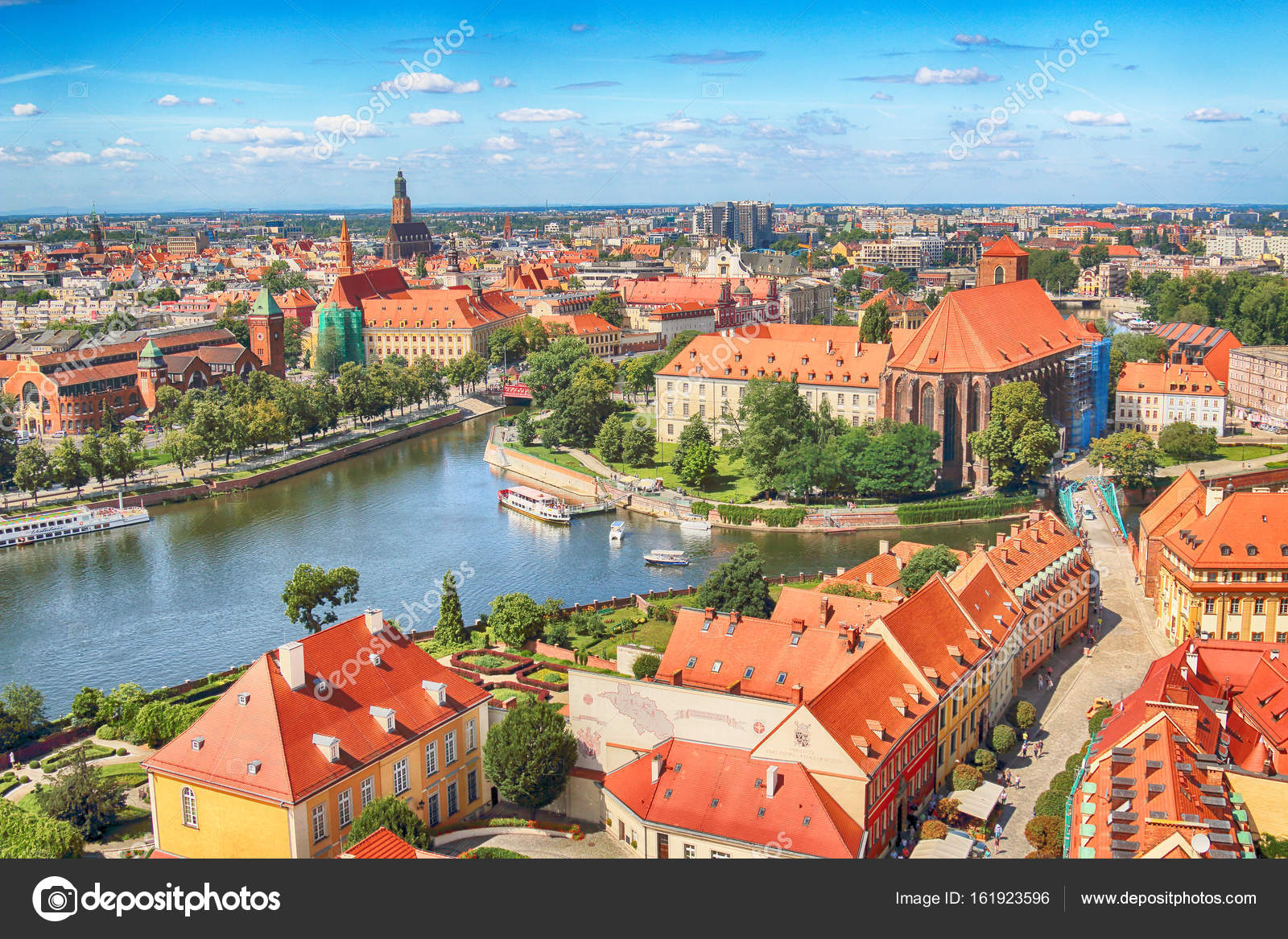 WROCLAW, POLAND - JULY 29, 2017: Aerial view of Wroclaw  Old