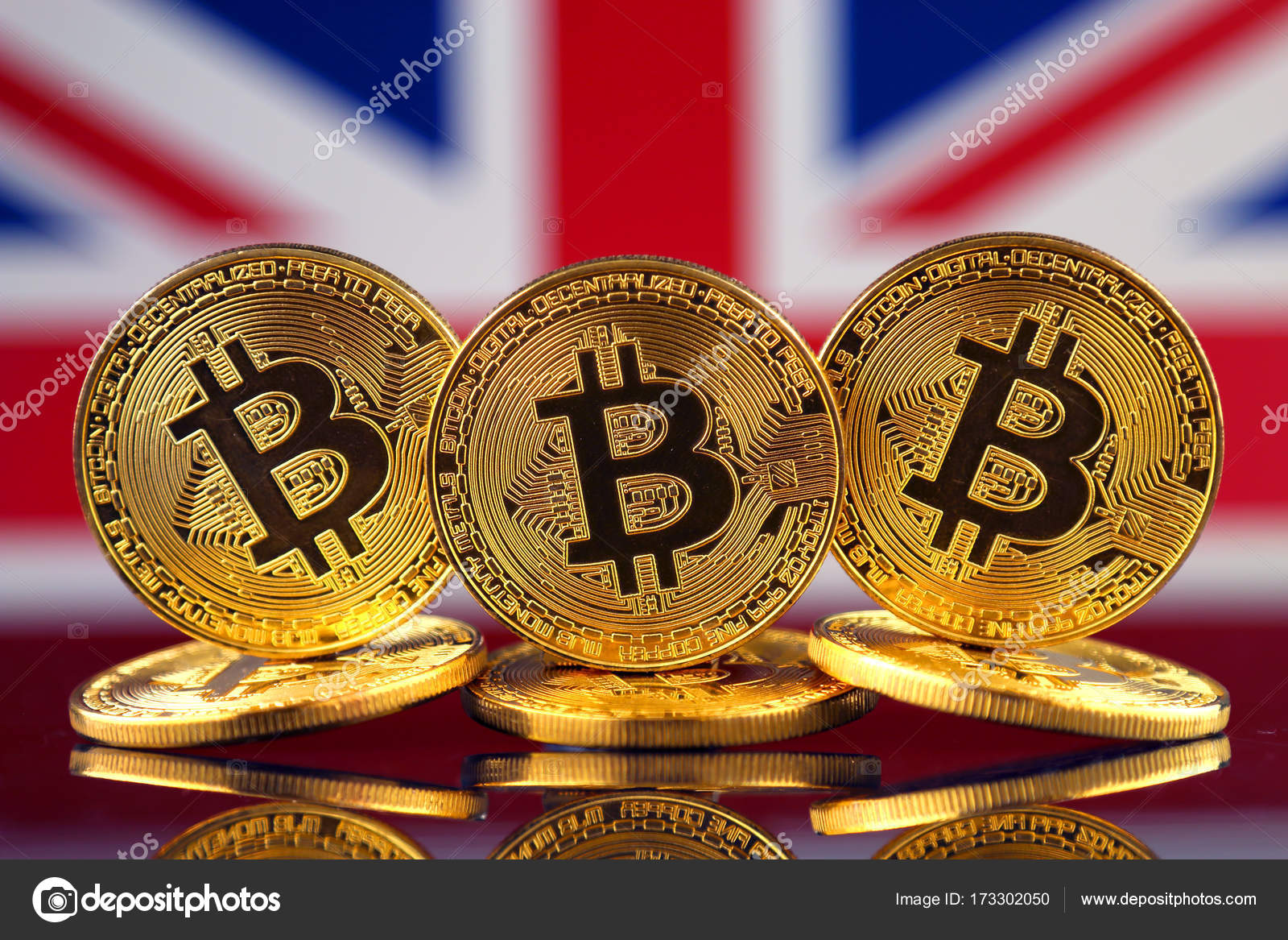 Physical Version Of Bitcoin New Virtual Money And Uk Flag