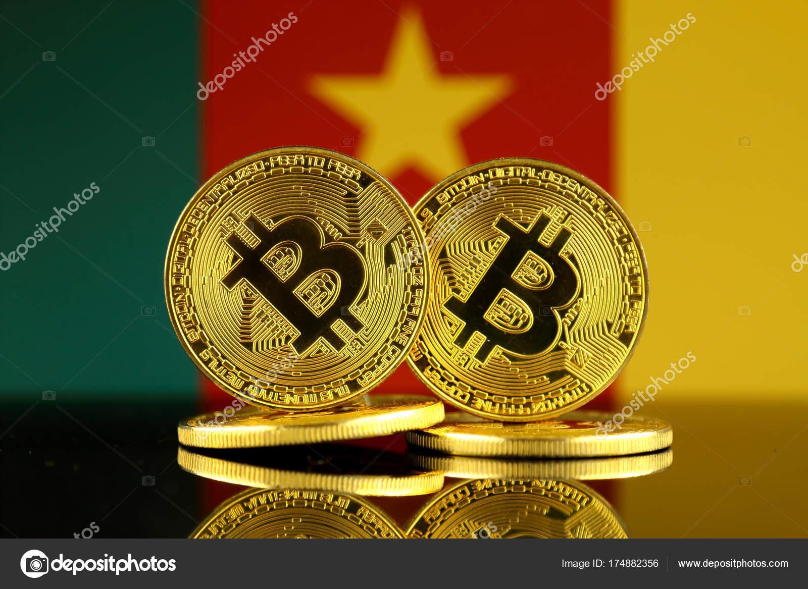 Version Physique Bitcoin Drapeau Cameroun Gros Plan Photo