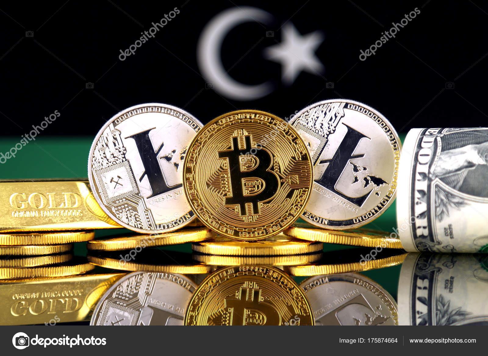 Physical version bitcoin litecoin gold dollar libya flag conceptual physical version bitcoin litecoin gold dollar libya flag conceptual image stock photo ccuart Choice Image