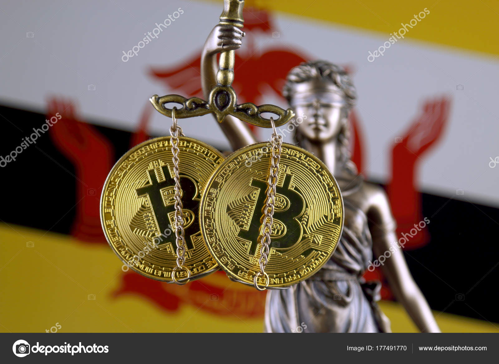 Symbol Law Justice Physical Version Bitcoin Brunei Flag Prohibition
