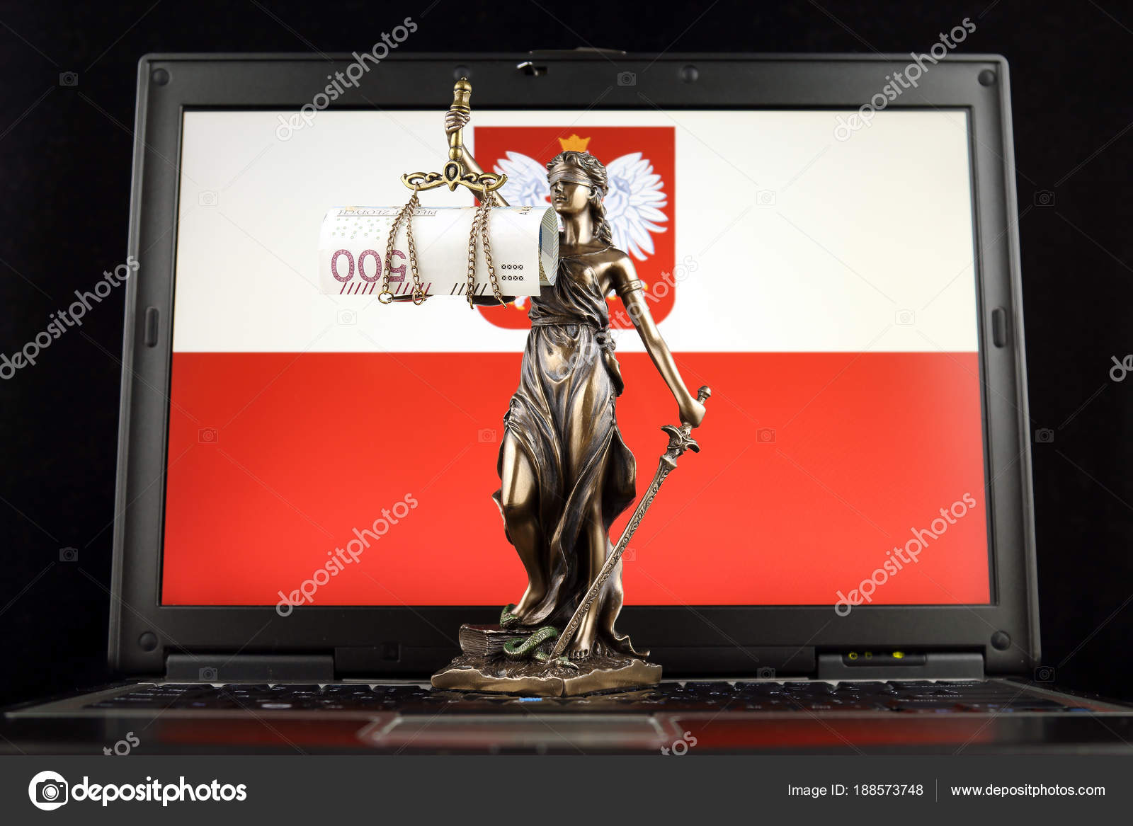 Symbol Law Justice Polish Zloty Banknote Poland Flag Laptop Studio