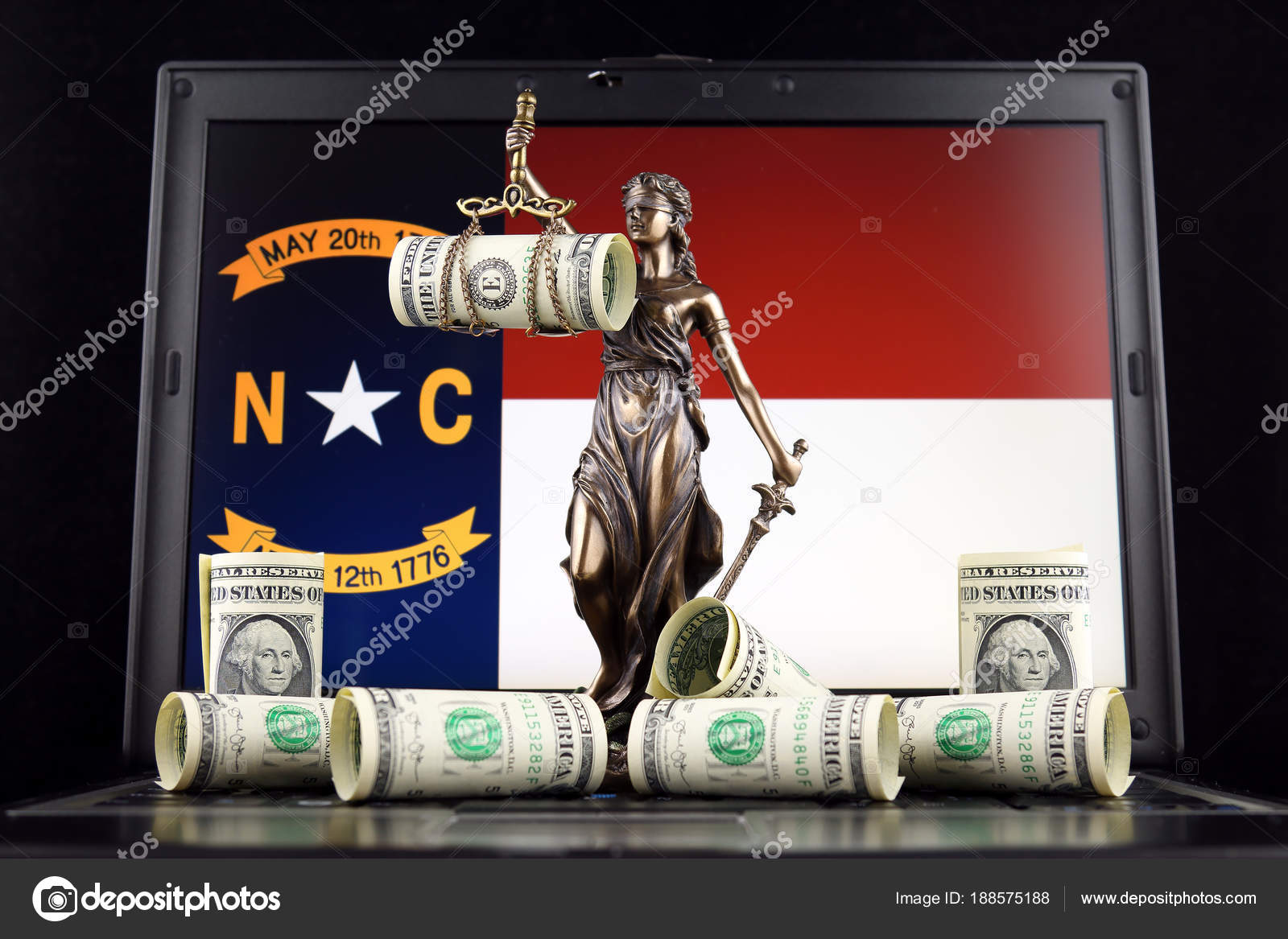 Symbol Law Justice Banknotes One Dollar North Carolina Flag Laptop ...