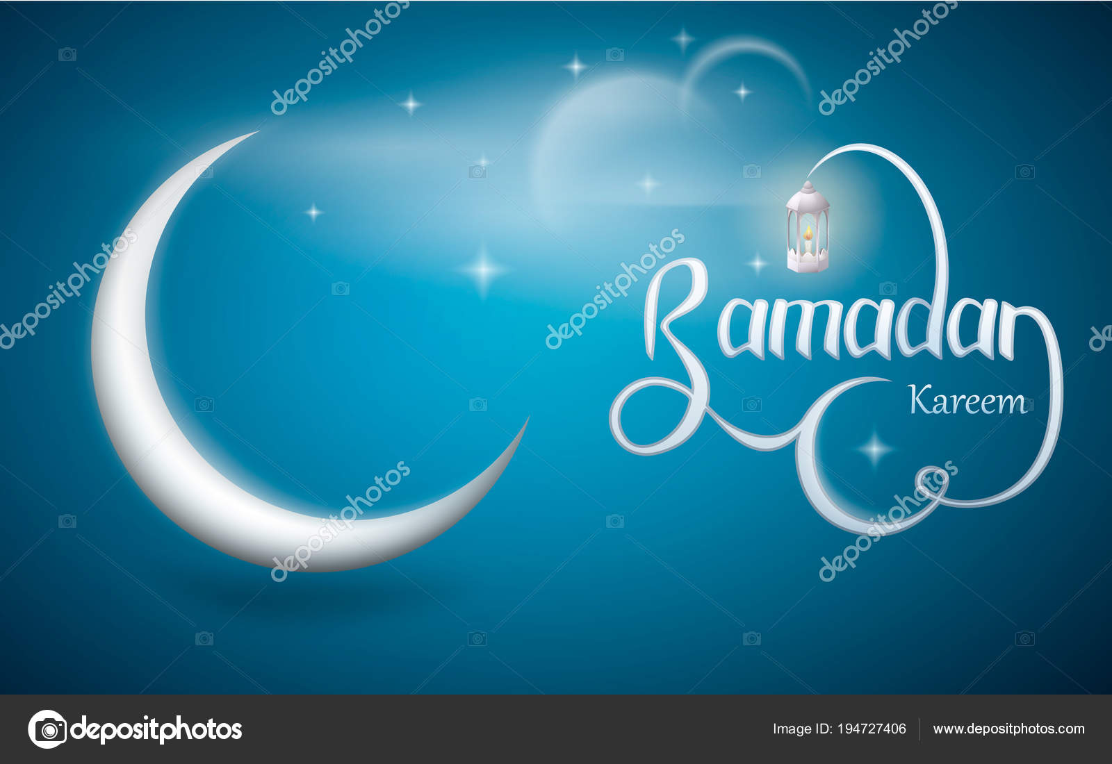 Ramadan kareem vector design with lantern and crescent moon. Wallpaper design on the occasion of