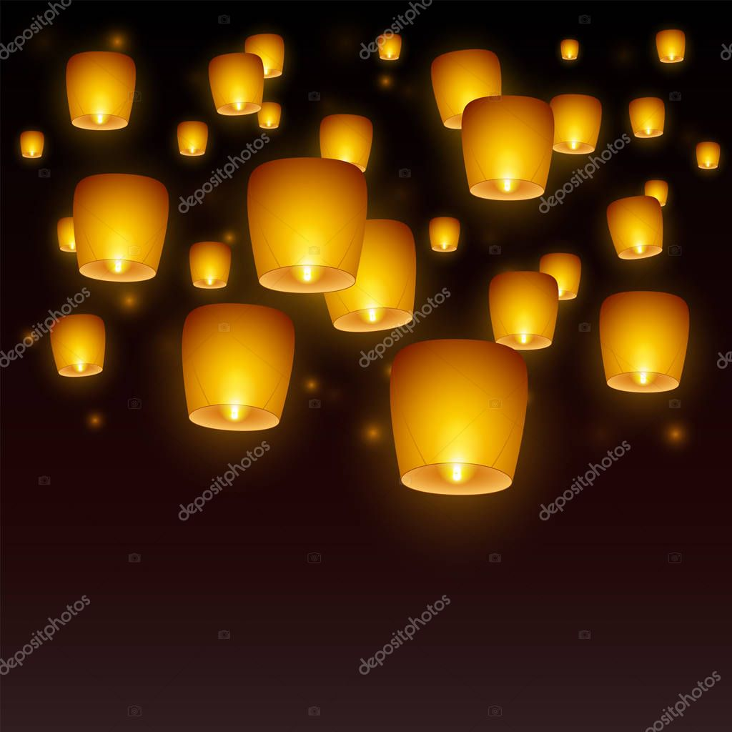 Flying Paper Sky Lanterns With Flame At Night Sky Traditional Design Elements Premium Vector In Adobe Illustrator Ai Ai Format Encapsulated Postscript Eps Eps Format