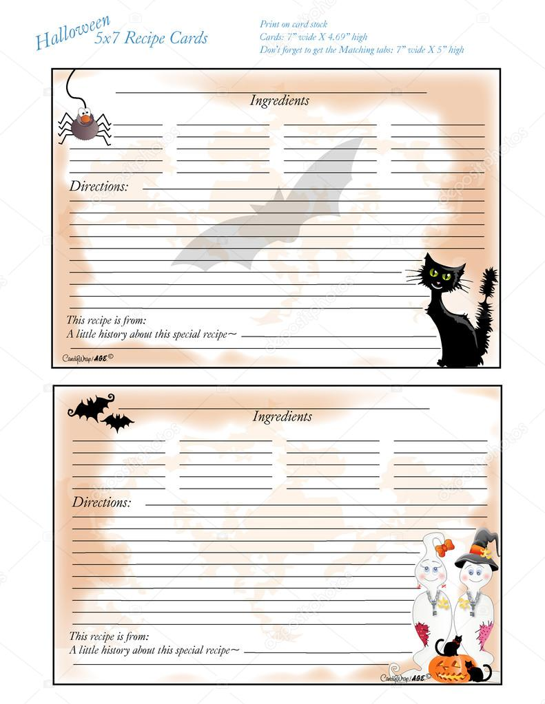 5 x 7 Halloween Rezept Karte Teiler Tabs 3 und 4 — Stockvektor ...