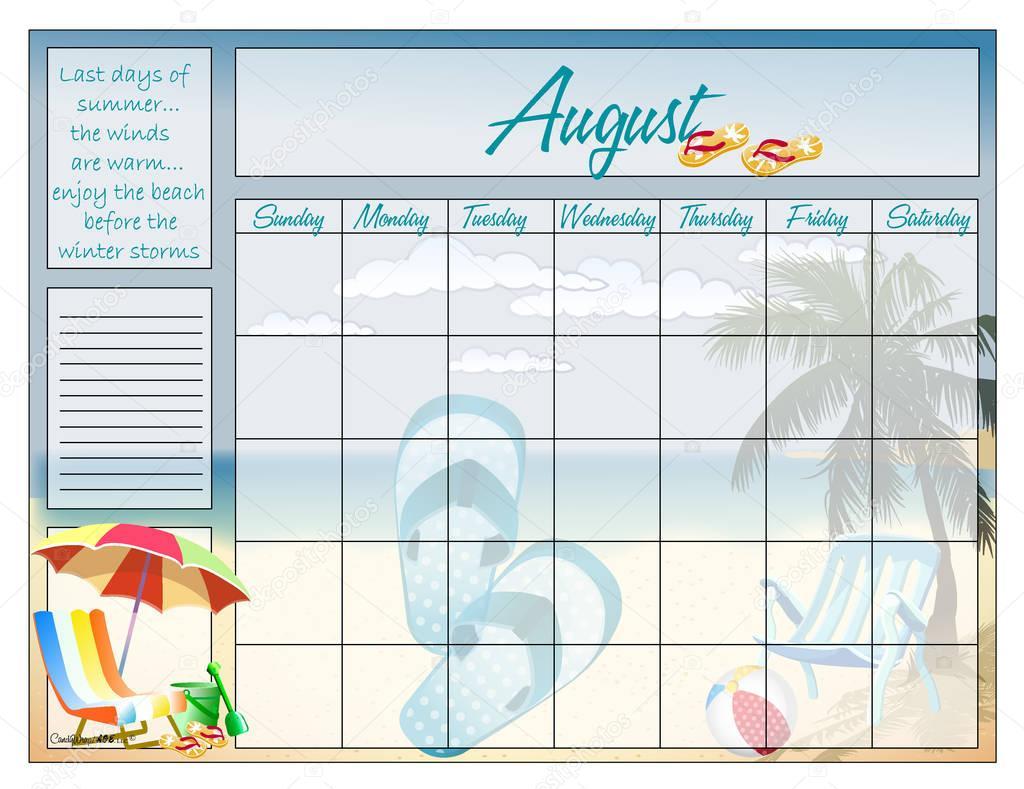 Calendario agosto para siempre — Vector de stock © CandyWrap #128945160