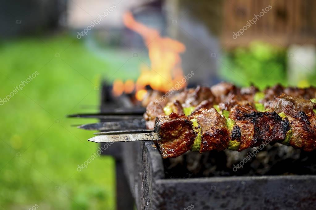 Shish kebab cooking in open air in summer