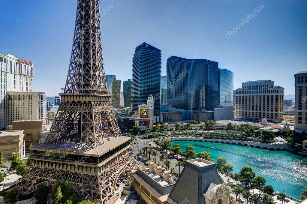 View Towards Cosmopoliten Hotel with Eiffel Tower in Las Vegas N
