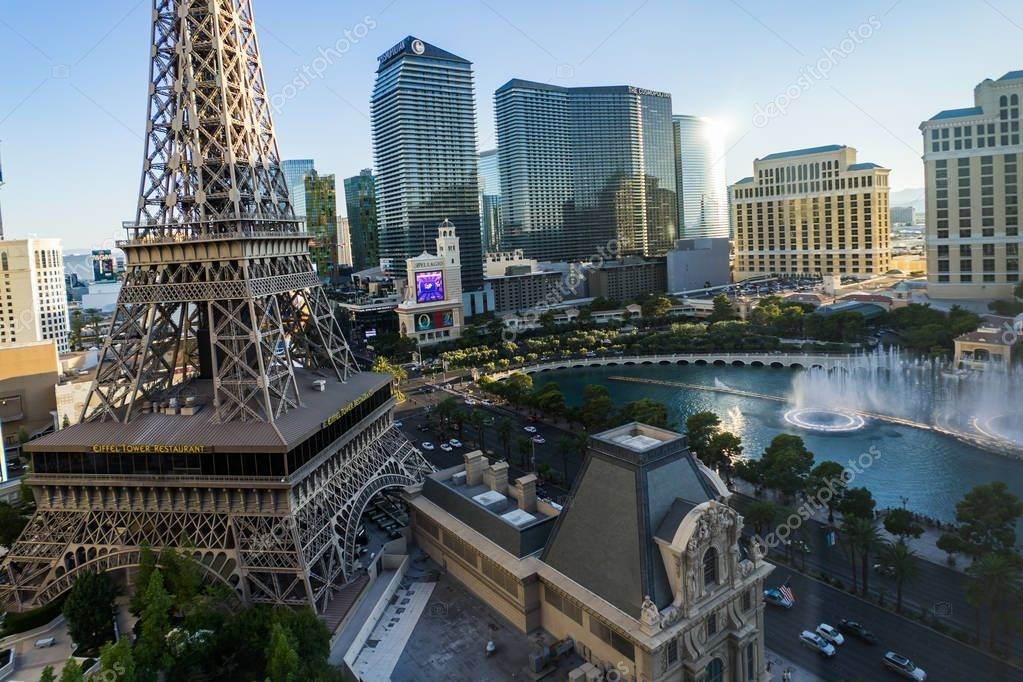 View Towards Cosmopoliten Hotel with Eiffel Tower in Las Vegas N