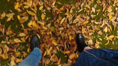 A view from above, the legs of the mother and daughter in black shoes running along the autumn fallen leaves. 4k Slow Motion