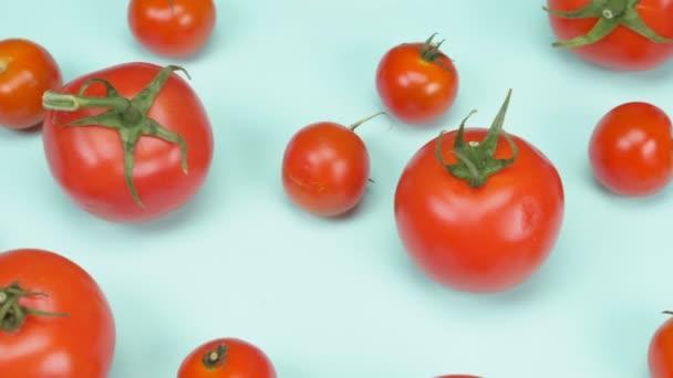 míchaná malá a velká rajčata a cherry rajčata na modrém pozadí