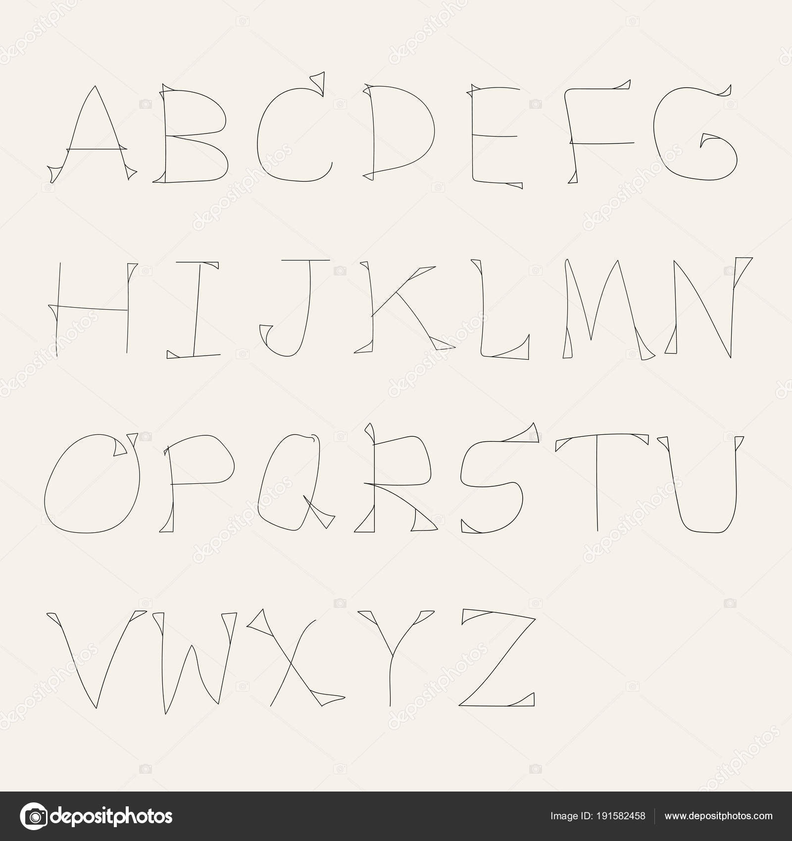 Vector Alphabet Unique Custom Characters Hand Writing Designs Illustration Eps10 Stock