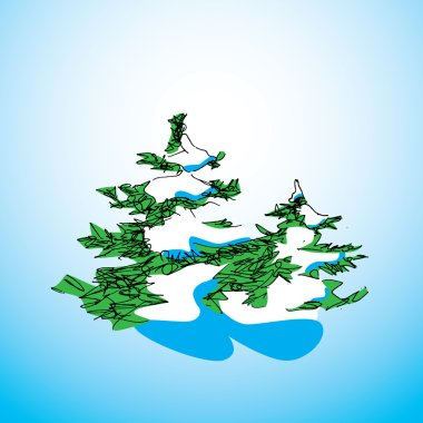 Drawing christmas tree with snow on blue background. Christmas concept card
