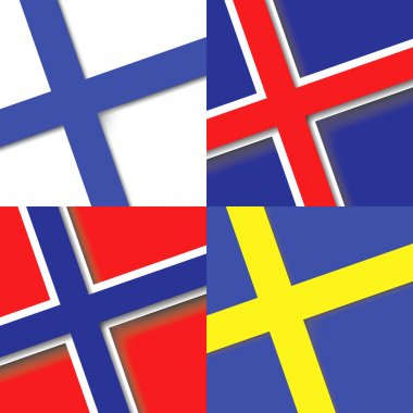 Set of Nordic Scandinavian countries state flags. National flags in square.