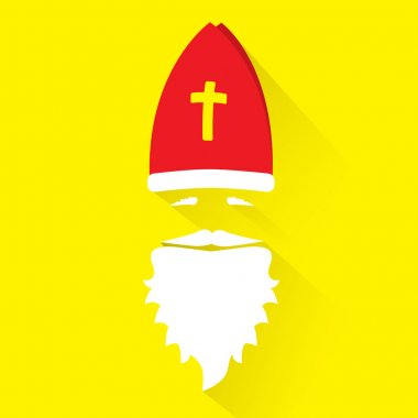 Flat Design Vector Saint Nicholas on yellow background. Greeting Card.