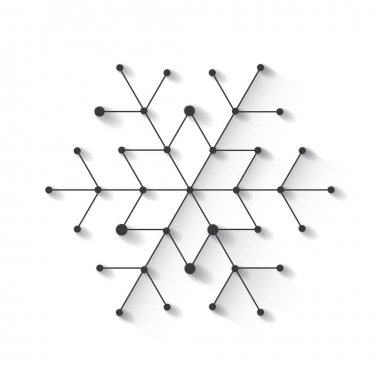 Minimalistic christmas snowflake. Background with simply low poly winter theme
