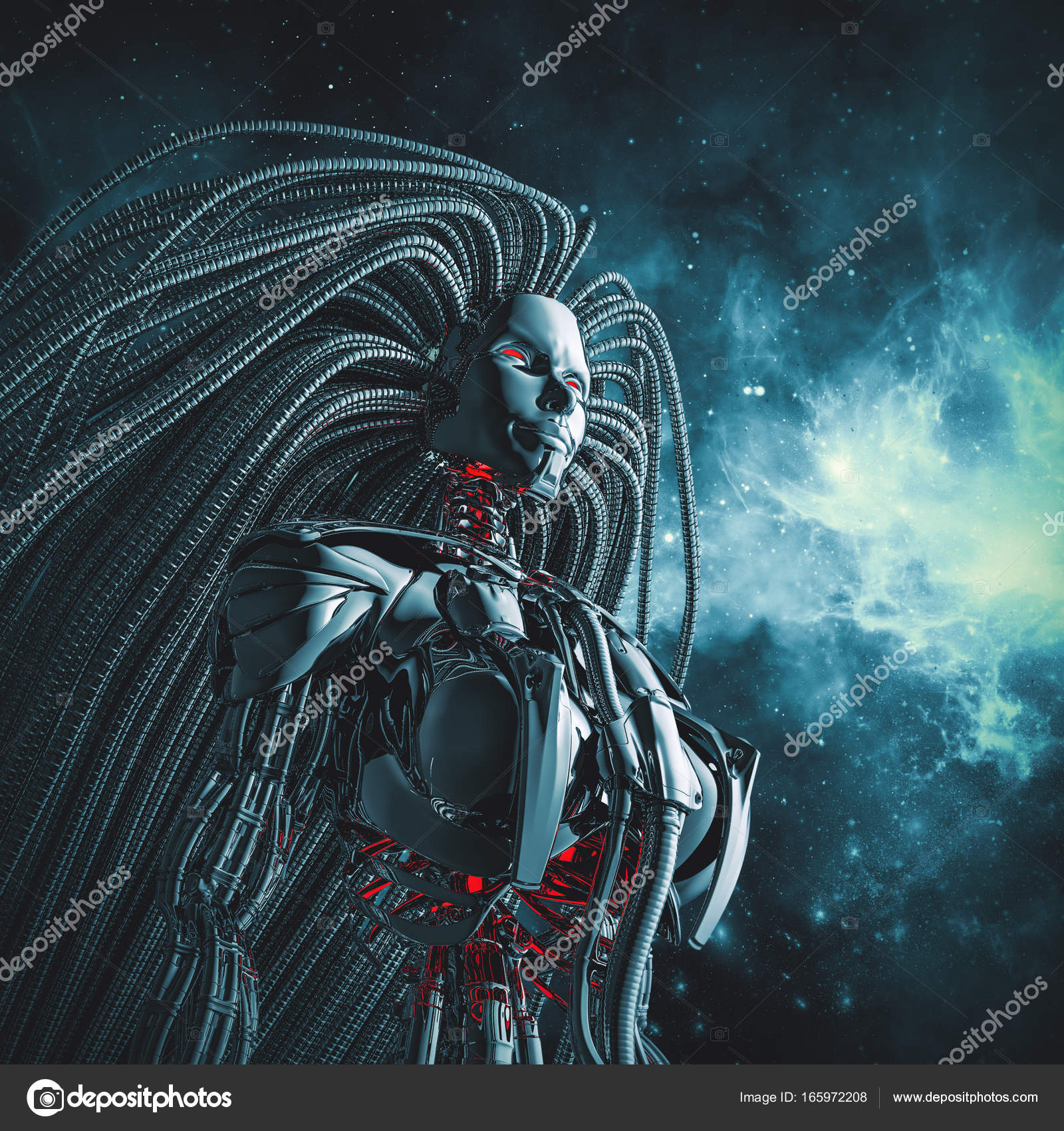 Female Cyborg Space Stock Photo C Grandeduc 165972208