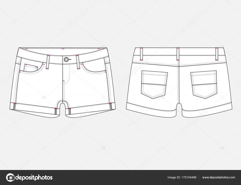 994cecf8b Dibujo técnico moda de pantalones cortos de Denim de mujer en vector -  dibujos  pantalones cortos — Vector de vlad-bitte.mail.com