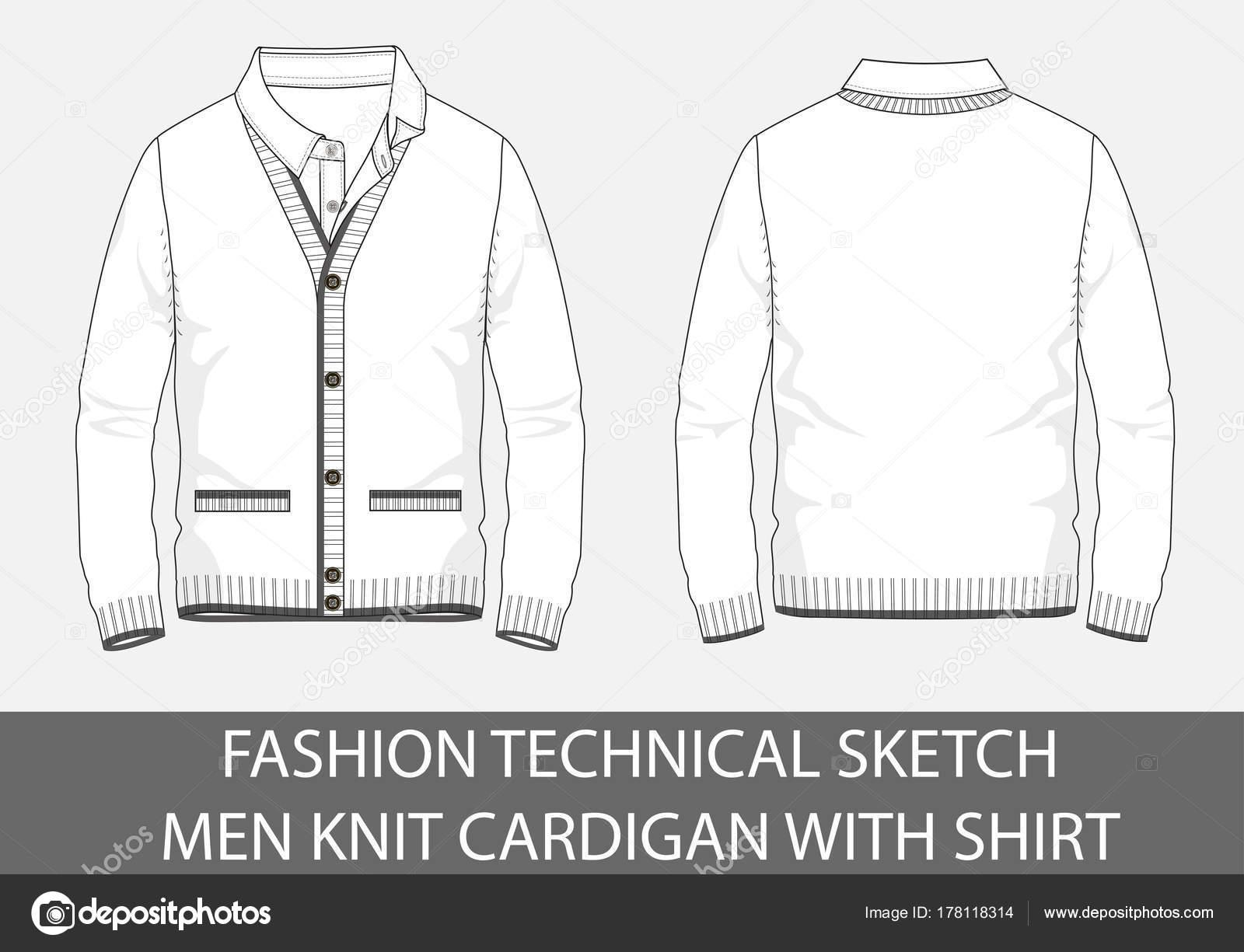 Dibujo Técnico Moda Hombres Chaqueta Con Camiseta Gráfico Vectorial ...
