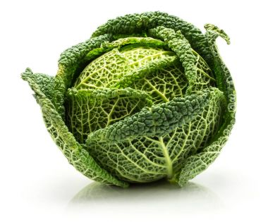 Savoy cabbage isolated on white background one fresh green hea