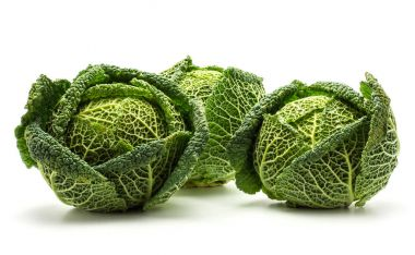 Savoy cabbage isolated on white background three fresh green head