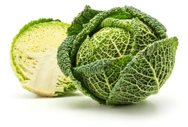 Savoy cabbage head and one half isolated on white background fresh gree