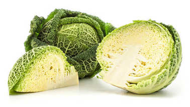 Savoy cabbage set isolated on white background one fresh green head one cut half and a quarter slic