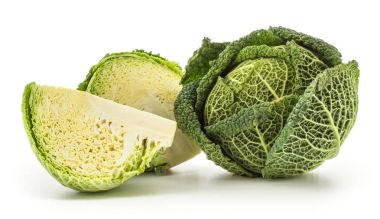Savoy cabbage set isolated on white background one green head fresh cut half and a quarter slic